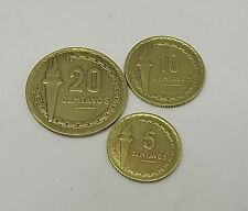 PERU SET COIN 20 10 5 cent SERIE MARISCAL CASTILLA 1954 CIRCULATED  A-54