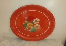 Vintage Red Hand Painted Large Oval RANSBURG Metal Serving Tray Floral Motif