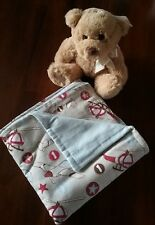 hand made newborn baby boy rug wrap blanket double thickness flanellette