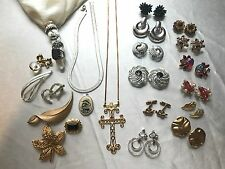 38 pc Vintage Estate ALL SIGNED Jewelry Lot - Rings Brooches Necklaces Earrings