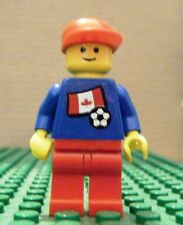 LEGO MINI–SPORTS–SOCCER–CANADA, #7, BLUE, RED LEGS, (Stickers)–GENTLY USED