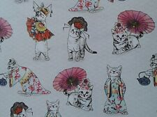 QUIRKY Cat Oriental Panel Fabric Craft Remnant 95 x 45 cm Approx