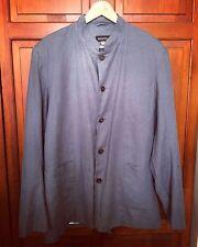 Stunning ESKANDAR Blue Linen Collarless Jacket - Size 0 RRP£400