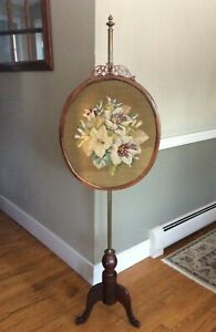 Antique Victorian Tapestry Needlepoint Floral Embroidery Fireplace Screen Pole