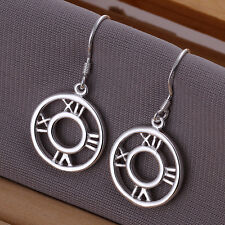 Drop Earrings Valentines Day Gift 925 Beautiful Silver Roman Time Clock