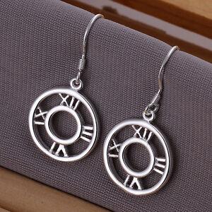 Beautiful Silver Roman Time Clock Drop Earrings Halloween Day Gift