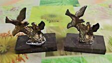 Ancien Paire Serre Livres Presse Papier Régule Oiseaux chardonneret Bouvreuil
