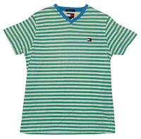 Vintage Tommy Hilfiger Striped Green White Short Sleeve V-Neck Shirt Women's L