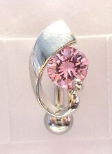 Surgical Steel VCH Hood Cover Shield Curved Barbell Pink Crystal 14 gauge 14g