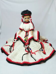"Handmade Crocheted Dress And Headband Southwest Style 14"" Doll"