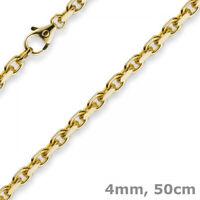 4mm Kette Collier Ankerkette aus 750 Gold Gelbgold, 50cm, Herren, Goldkette