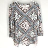 J. JILL Tunic Shirt Size Large Buttoned Back Floral 3/4 Sleeve Lightweight