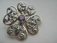 Vintage  Past Times Sterling Silver Flower Amethyst Butterfly Heart  Brooch