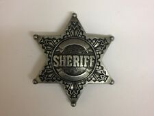 Antique Effect finish Engraved Sheriff US Lawman Star Badge Belt Buckle