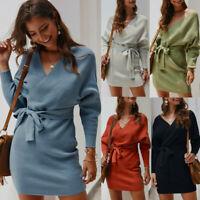 Womens Knitwear Sweater Dress Long Sleeve Casual V-neck Sexy Loose Midi Dresses