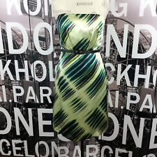 The Limited 100% Silk Belted Strapless Green Striped Dress Size 10 NWT