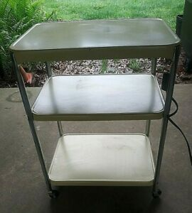 Vtg COSCO Metal 3 Tier Kitchen Rolling Serving Cart Yellow with Electric Outlet