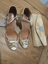 Gold Office Shoes  uk4 and gold clutch bag
