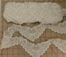 "14 yards pretty scalloped white embroidered lace trim 4"" organza bridal elegant"