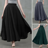 UK Womens Flare Big Swing A-Line Skirts Casual Loose Long Maxi High Waist Dress