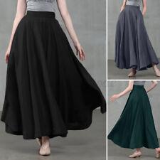 Reino Unido para mujer FLARE Big Swing A-line Faldas Informal Suelto Largo Maxi Vestido cintura alta
