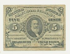 1863 5 FIVE CENTS FRACTIONAL CURRENCY SPENCER  BANK NOTE CIVIL WAR