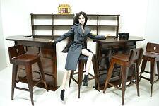 NEW BAR double SET furniture for Dolls 12 in 1:6 FR Barbie wood PUB RESTAURANT
