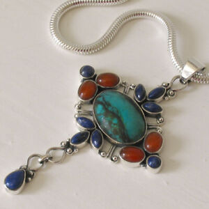 Turquoise Pendant set in Sterling Silver With Lapis Lazuli & Carnelian Gemstones