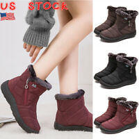 Women Fur Lined Snow Ankle Boots Ladies Winter Warm Waterproof Flat Shoes Size