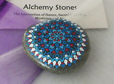 Hand Painted Alchemy Stone w. White, Turquoise, Blue & Red Star Mandala