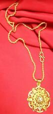 "22K 23K 24K New Beautiful Indian Gold Plated Pendant with 21"" Necklace Chain"