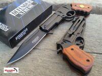 """8.5"""" Black Brown Wood REVOLVER GUN TACTICAL Spring Assisted Open Pocket Knife"""