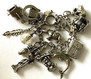 Vintage Sterling Silver 925 Link Unique Ladies Bracelet With 13 Charms 8.25''