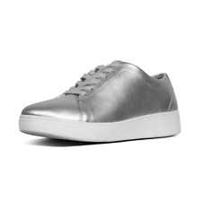 Fitflop X22-011 Rally Ladies Silver Leather Lace Up Trainers