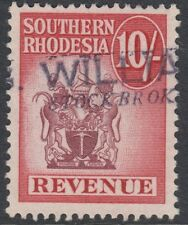 SOUTHERN RHODESIA : 1954 10/- REVENUE Stamp  Bft 37 -fiscal cancel