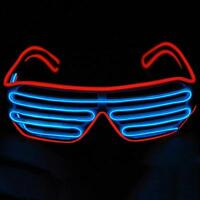 NEW El Wire Neon LED Light Up Shutter Shaped Glasses for Costume Party Hot