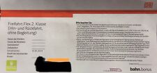DB Bahn Ticket Freifahrt Flex 2. Klasse Hin- und Rückfahrt gültig bis 31.05.2019