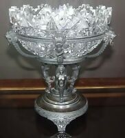 MERIDEN SILVERPLATE ABP BRILLIANT GLASS BRIDE BASKET BOWL LION ANGEL CENTERPIECE