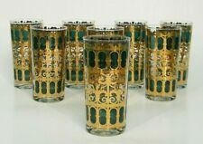 "8 MiD CENTURY CULVER 5.75"" EMERALD GREEN GOLD SCROLL 12oz GLASS HiGHBALL TUMBLER"