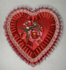 Vintage Van Duyn's Valentine Red Heart Candy Box Lace Ribbons Rose Retro