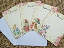 4 Beatrix Potter Character Thank you Cards & Envelopes -Peter Rabbit & Friends