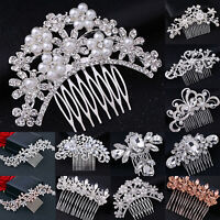 Women's Wedding Hair Slide Clips Crystal Pearl Hairpin Hair Comb Ladies Barrette
