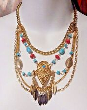 GOLD TURQUOISE RED COLORED BOHEMIAN NECKLACE tribal ethnic multi-strand P3