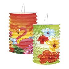 Pack of 2 Hawaiian Hibiscus Paper Lantern Multi Coloured Party Garden Decoration