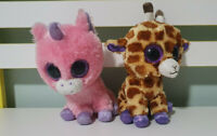 TY BEANIE BOOS SAFARI GIRAFFE AND MAGIC UNICORN 16-18CM