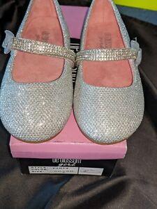 NEW$40 De Blossom Girl T-Lili-2 Silver 6 shoe Sparkle Rhinestone Bow Dress Flat