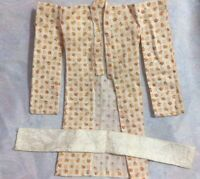 Vintage Hand Made For Barbie Yellow Floral Kimono with Obi