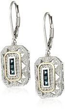 5 Style Jewelry White CZ 925 Sterling Silver Blue Sapphire Gemstone Drop Dangle