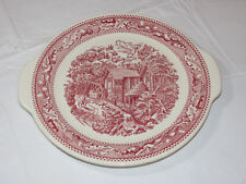 Memory Lane Royal Ironstone Cake Plate Platter with Handles Red Made in USA~