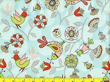 Riley Blake Dutch Treat Birds & Flowers on Blue Quilting Fabric by Yard  #607